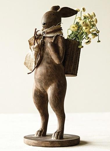 Sırtında Sepetli Tavşan Dekoratif Obje-Warm Design